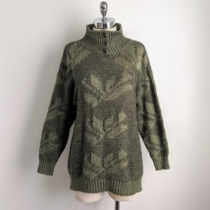 vintage 80's jacquard knit mock neck sweater